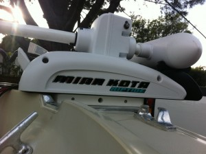 Good view of Trolling Motor Clearance on Boston Whalers Lip - Perfect fit
