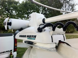 Trolling Motor Custom Bracket installed and fitted with Minn Kota - Boston Whaler Outrage 17